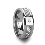 ROYCE Tungsten Carbide Ring with White Carbon Fiber and White Diamond - 8mm
