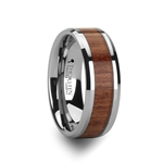 KODIAK Beveled Tungsten Carbide Ring with Rosewood Inlay - 4mm - 12mm