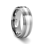 PRAETOR Silver Inlaid Raised Satin Finish Tungsten Ring - 8 mm