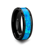 QUANTUM Blue & Green Opal Inlaid Black Ceramic Ring - 4mm - 10mm