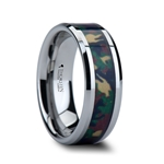 COMMANDO Tungsten Wedding Ring with Military Style Jungle Camouflage Inlay - 6mm - 10mm