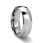 CASSIUS Silver Inlaid Domed Tungsten Ring - 8 mm