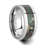 COMMANDO Tungsten Wedding Ring with Military Style Jungle Camouflage Inlay - 10mm
