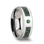 ASPEN Tungsten Carbide Ring with Black and Green Carbon Fiber and Emerald Setting - 8mm