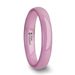 CORAL Domed Polish Finish Pink Ceramic Ring - 4 mm