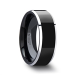 MACLAREN Black Polish Finished Center Tungsten Carbide Ring with Metallic Beveled Edges - 4mm - 8mm