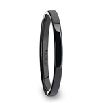 FAITH Black Flat Shaped Ceramic Wedding Ring for Her - 2 mm