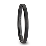 DAISY Black Flat Shaped Ceramic Wedding Band for Women with Brushed Finish - 2 mm