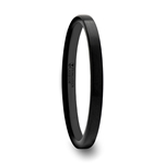 CAROLINA Black Flat Shaped Tungsten Wedding Band for Women with Brushed Finish - 2 mm