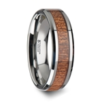 CONGO Tungsten Wedding Band with Polished Bevels and African Sapele Wood Inlay - 6mm -10mm