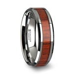 NARRA Tungsten Wood Ring with Polished Bevels and Padauk Real Wood Inlay - 6mm - 10mm