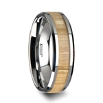 SAMARA Tungsten Ring with Polished Bevels and Ash Wood Inlay - 6mm - 10mm