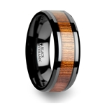 ACACIA Koa Wood Inlaid Black Ceramic Ring with Bevels - 4 mm - 12 mm