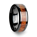 GABON Black Ceramic Band with Polished Bevels and Exotic Mahogany Hard Wood Inlay - 4 mm - 10 mm