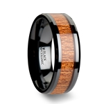 BENIN Black Ceramic Wedding Band with Polished Bevels and African Sapele Wood Inlay - 6 mm - 10 mm