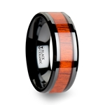 BOSULU Black Ceramic Wood Ring with Polished Bevels and Padauk Real Wood Inlay - 6 mm - 10 mm