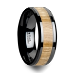 FILMORE Black Ceramic Ring with Polished Bevels and Ash Wood Inlay - 6 mm - 10 mm