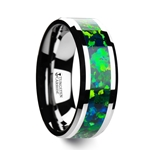 PHOTON Tungsten Wedding Band with Beveled Edges and Green Blue Opal Inlay - 6mm & 8mm