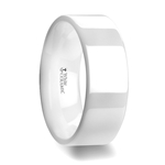 LUCENT Flat Polish Finished White Ceramic Wedding Ring - 6mm & 8mm