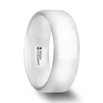GLACIER White Ceramic Wedding Band with Beveled Edges and Polished Finish - 6mm & 8mm
