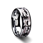ARMISTICE Beveled Tungsten Carbide Ring with Black and Gray Camo Pattern - 8mm