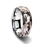 BATTALION Domed Tungsten Carbide Ring with Black and Gray Camo Pattern - 6mm - 10mm