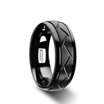 ENIGMA Domed Black Tungsten Ring with Brushed Cross Alternating Diagonal Cuts Pattern - 8mm