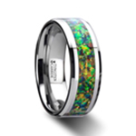 ETHEREAL Tungsten Carbide Ring with Blue & Orange Opal Inlay - 8mm
