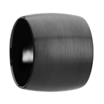 AETHER Domed Black Tungsten Carbide Ring with Brushed Finish - 20 mm