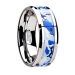 GENERAL Tungsten Wedding Ring with Blue and White Camouflage Inlay - 8mm
