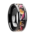LAUREL Realistic Tree Camo Black Ceramic Wedding Band with Real Pink Oak Leaves - 6mm - 8mm