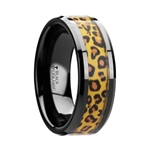 NAMIBIA Black Ceramic Wedding Band with Cheetah Print Animal Design Inlay - 6mm & 8mm
