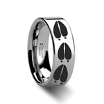 Animal Deer Track Print Ring Engraved Flat Tungsten Ring - 4mm - 12mm