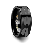 Animal Deer Track Print Ring Engraved Flat Black Tungsten Ring - 4mm - 12mm