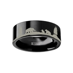 Animal Landscape Scene Bears Bear Cubs Ring Engraved Flat Black Tungsten Ring - 4mm - 12mm