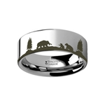 Animal Landscape Scene Bears Bear Cubs Ring Engraved Flat Tungsten Ring - 4mm - 12mm