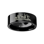 Animal Landscape Scene Five Deer Stag Hunting Ring Engraved Flat Black Tungsten Ring - 4mm - 12mm