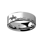 Animal Landscape Scene Fox Hunt Hunting Ring Engraved Flat Tungsten Ring - 4mm - 12mm