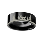 Animal Landscape Scene Reindeer Deer Stag Ring Engraved Flat Black Tungsten Ring - 4mm - 12mm