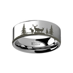 Animal Landscape Scene Reindeer Deer Stag Ring Engraved Flat Tungsten Ring - 4mm - 12mm