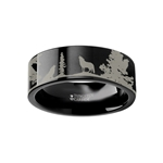 Animal Landscape Scene Wolf Wolves Ring Engraved Flat Black Tungsten Ring - 4mm - 12mm