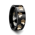 Animal Track Bear Paw Print Engraved Ring Black Tungsten Ring Polished- 4mm - 12mm
