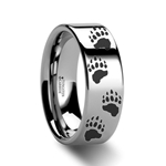 Animal Track Bear Paw Print Ring Engraved Flat Tungsten - 4mm - 12mm