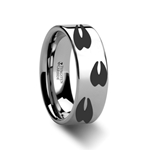 Animal Track Deer Print Ring Engraved Flat Tungsten Ring - 4mm - 12mm