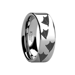 Animal Track Duck Print Ring Engraved Flat Tungsten Ring - 4mm - 12mm