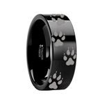 Animal Track Wolf Print Ring Engraved  Black Tungsten - 4mm - 12mm