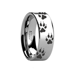 Animal Track Wolf Print Ring Engraved Flat Tungsten Polished- 4mm - 12mm