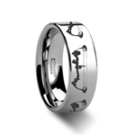 Bow Archery Design Ring Engraved Flat Tungsten Ring - 6mm - 8mm