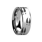 Deer Print Animal Track Ring Engraved Flat Tungsten Ring - 4mm - 12mm