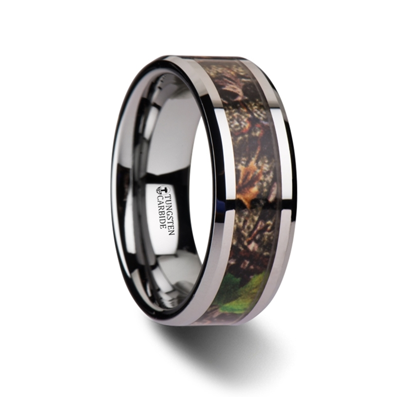 Overgrowth realistic tree camo tungsten carbide wedding for Tungsten camo wedding rings